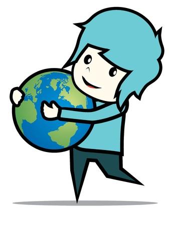 boy hug the earth Stock Vector - 17050136