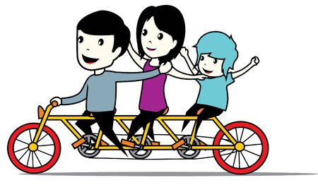 happy family with bicycle Vector
