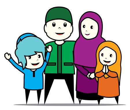islamic family Vector