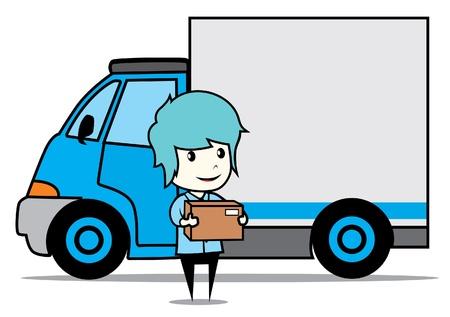 verhuis dozen: levering man met vrachtwagen