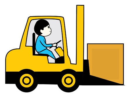 driving forklift Vector