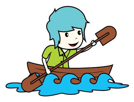 rowboat: hombre a bordo de gran