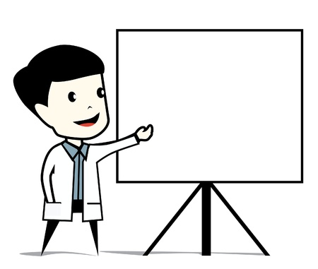 young male doctor: presentation Illustration