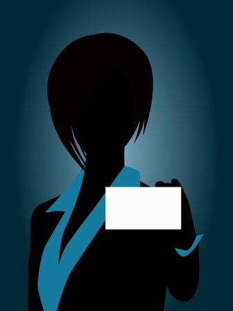 business people holding card Stock Vector - 17097338