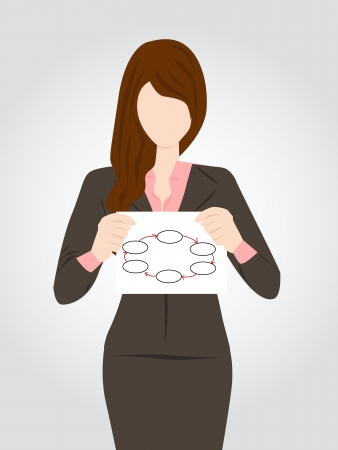business woman holding sign in hand Vector