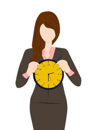 owe: woman holding a clock