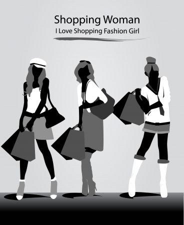 beautiful girls with black and white fashion Vector