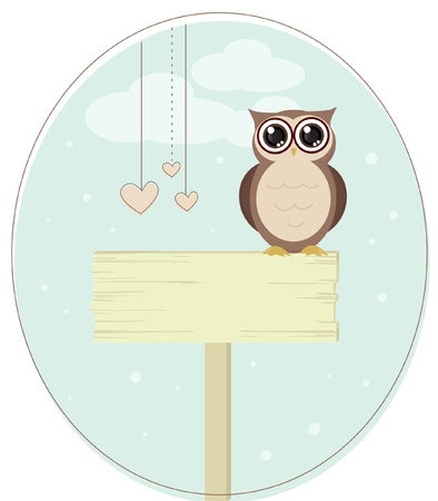 scrapbook cover: cute owl bird vector
