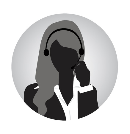 receptionists: woman customer service silhouette
