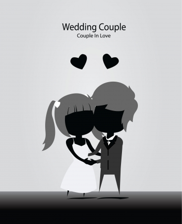 wedding couple in love black and white model Vector