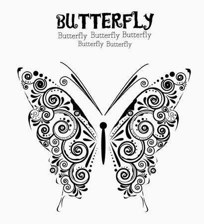 Bloemen vlinder-tattoo Stock Illustratie