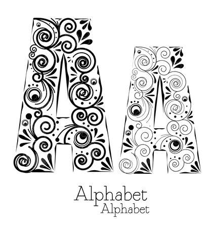 Alphabet - floral  Vector