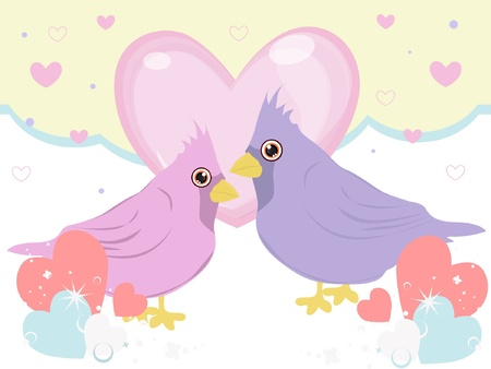 sweet bird in love Stock Vector - 17352730