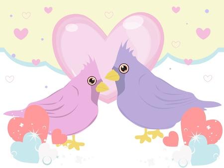 sweet bird in love Stock Vector - 17352730