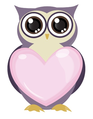 cute owl bird holding love vector Vector