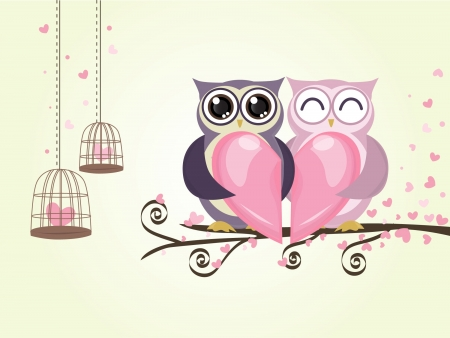 night owl: two owl bird couple with heart love in valentine day vector