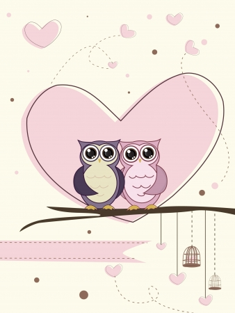 marriage night: cute couple of owl birds vector