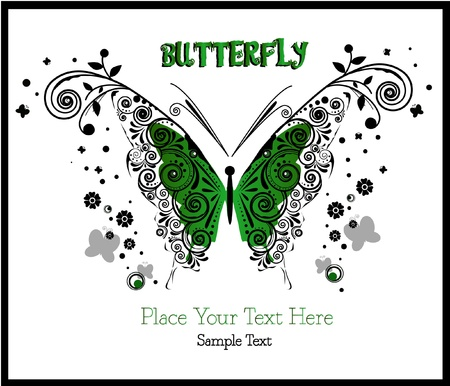 butterfly floral - green - clip-art - cute animal - beauty Stock Vector - 17386107