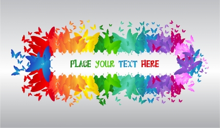 colorful - butterfly - banner - gray background