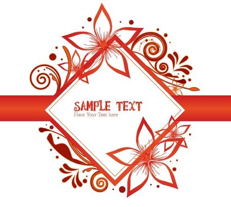 art deco frame: red - orange - flower - frame floral Illustration