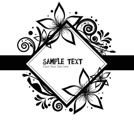 black white floral Vector
