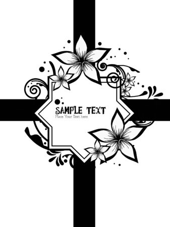 black and white flower floral Vector