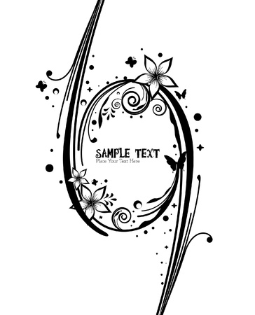 butterfly tail: beauty black and white border floral vector