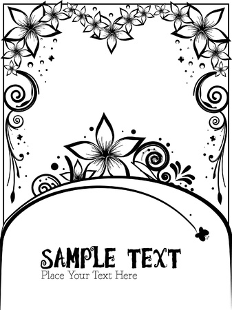 black and white blank sign floral vector Vector