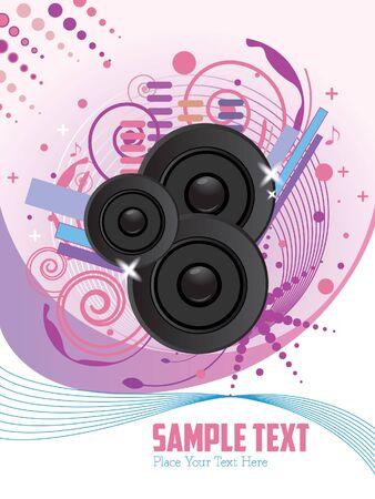 music loudspeaker: pink purple poster disco party music loudspeaker retro - vector version is also available