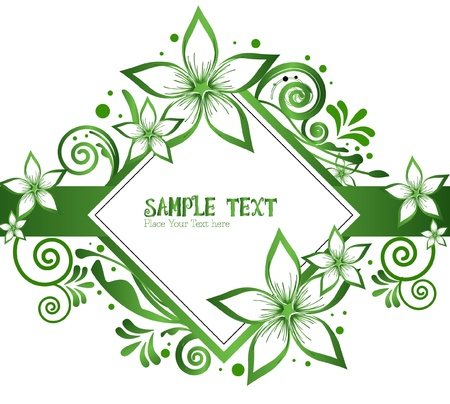 brown swirl: green flower - frame floral vector
