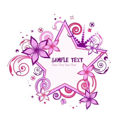 pink and purple stars floral vector Vector