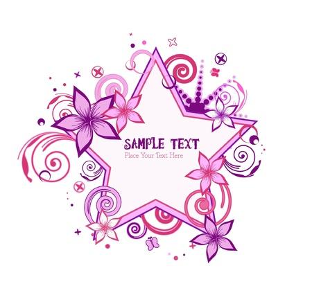 estrellas moradas: rosa y morado estrellas floral vector