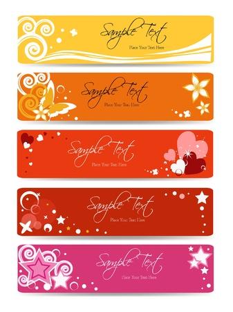 set of floral banner background - banner collection vector - web template - pink girl Illustration