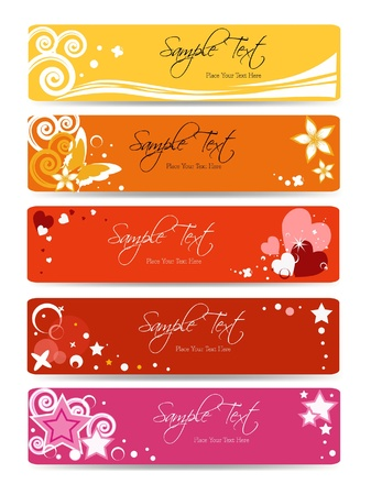 set of floral banner background - banner collection vector - web template - pink girl Illustration