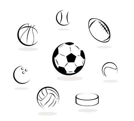basketball ball: sport ball- set of ball - collection Illustration
