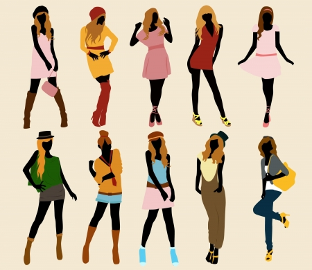 set of model fashion girl  collection Vector