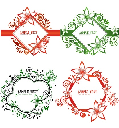 set of border flower - collection Vector