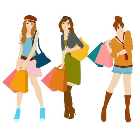 fashion girl shopping - trend  Illustration