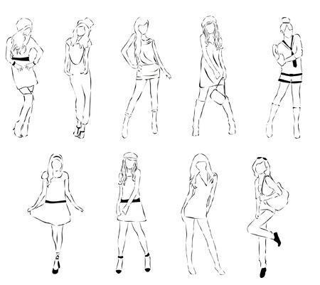 set of sketch fashion Illustration