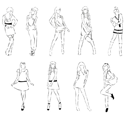 pink dress: set of sketch fashion Illustration