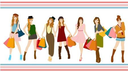 set van winkel meisje collectie Stock Illustratie