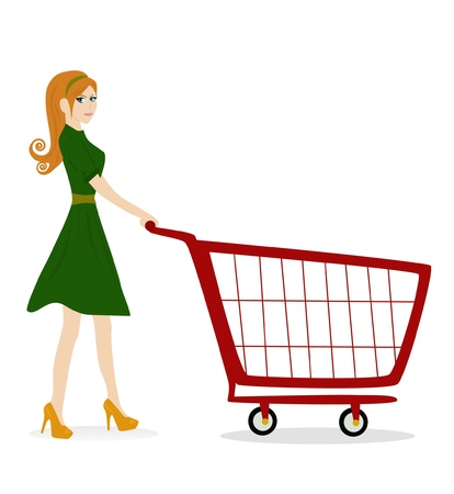 women - girl with trolley Vector