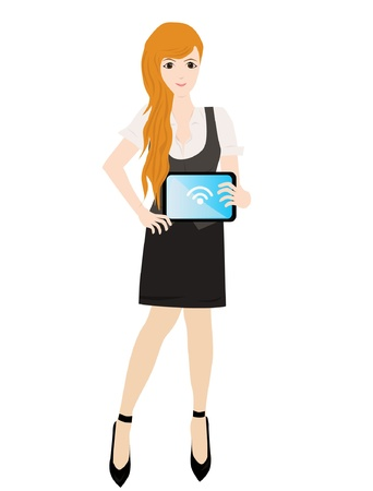 woman tablet: beauty business woman with tablet - woman shopping