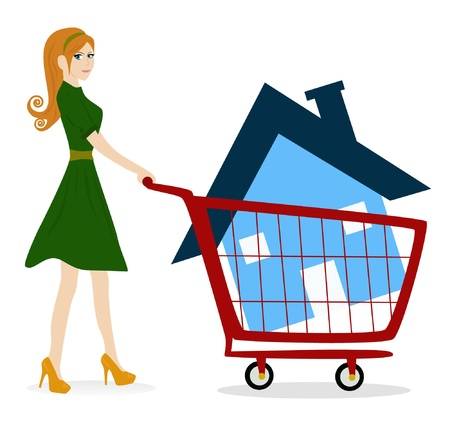 girl - woman with house trolley  Vector