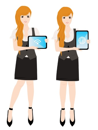 business woman tablet: business woman with tablet