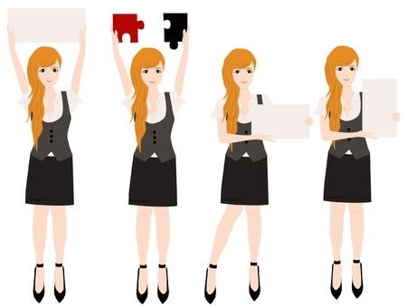 set of business woman with blank sign and puzzle collection  Vector