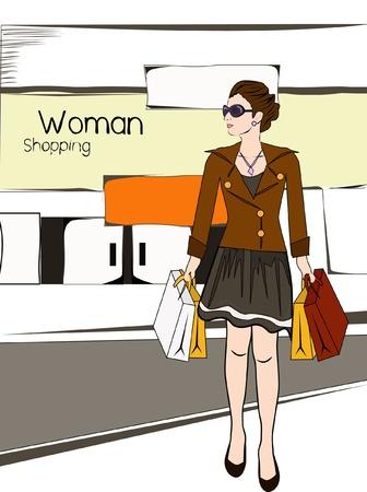 sexy business woman: fashion woman shopping wearing sunglasses  Illustration