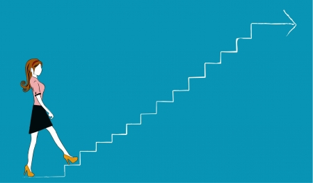 climbing stairs: business woman walking grow  Illustration