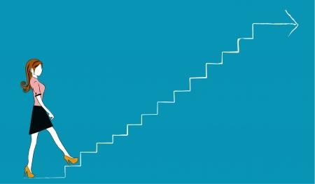 climbing stairs: Donna che cammina di business crescono