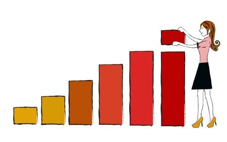 business woman chart vector
